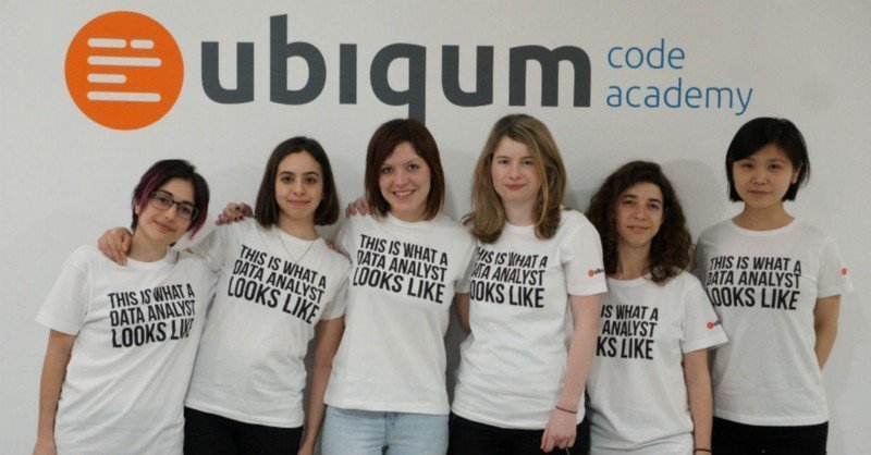 """Six Ubiqum students stand underneath the Ubiqum logo. All are wearing t-shirts that say """"This is what a Data Analyst looks like""""."""