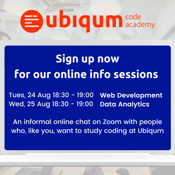 Sign up for the Ubiqum Online Info Sessions — August 2021