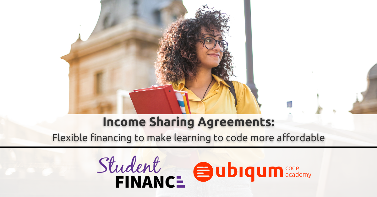 Featured image. Text: Flexible financing to make learning to code more affordable